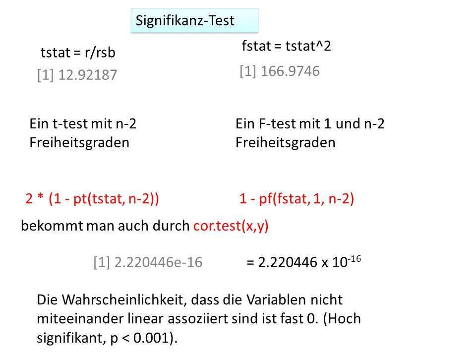 Signifikanz-Test fstat = tstat^2. [1] 166.9746. Ein F-test mit 1 und n-2 Freiheitsgraden. 1 - pf(fstat, 1, n-2)
